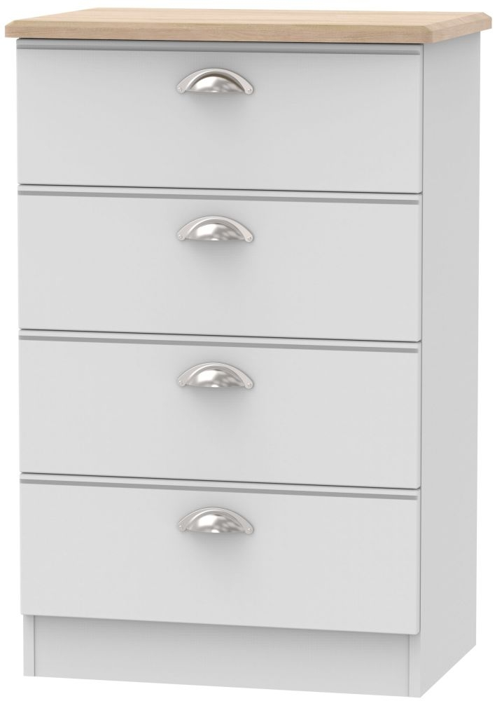 Victoria 4 Drawer Midi Chest - Grey Matt and Riviera Oak