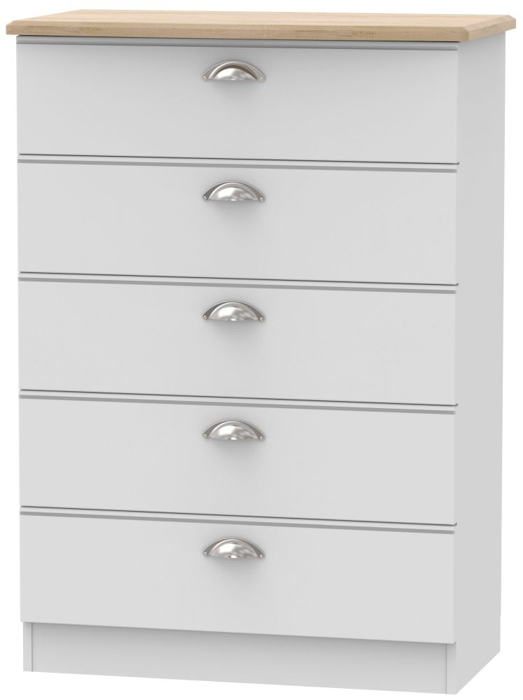 Victoria 5 Drawer Chest - Grey Matt and Riviera Oak