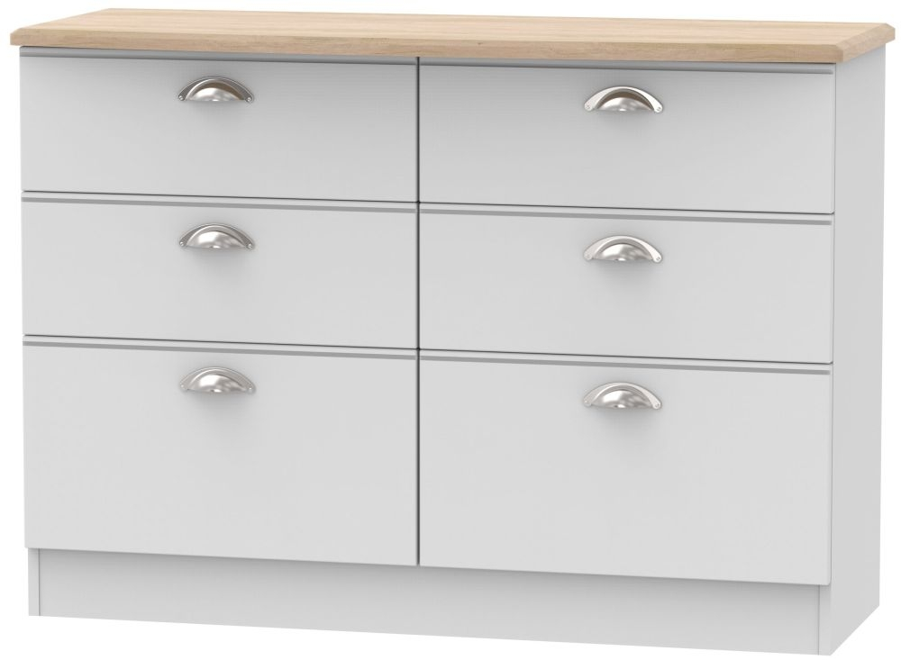 Victoria Grey Matt and Riviera Oak 6 Drawer Midi Chest