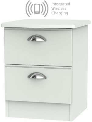 Victoria Grey Matt 2 Drawer Bedside Cabinet with Integrated Wireless Charging