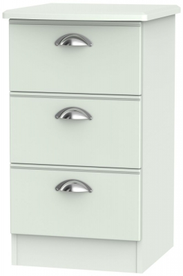 Victoria Grey Matt 3 Drawer Bedside Cabinet