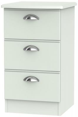 Victoria Grey Matt Bedside Cabinet - 3 Drawer Locker