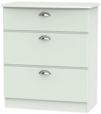 Victoria Grey Matt Chest of Drawer - 3 Drawer Deep