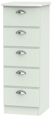 Victoria Grey Matt 5 Drawer Tall Chest