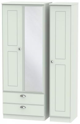 Victoria Grey Matt Triple Wardrobe - Tall 2 Drawer with Mirror