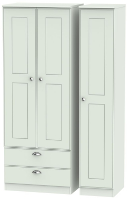 Victoria Grey Matt 3 Door 2 Left Drawer Tall Wardrobe