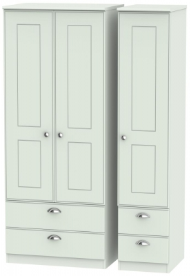 Victoria Grey Matt Triple Wardrobe with Drawer