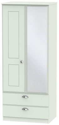 Victoria Grey Matt Wardrobe - 2ft 6in 2 Drawer with Mirror