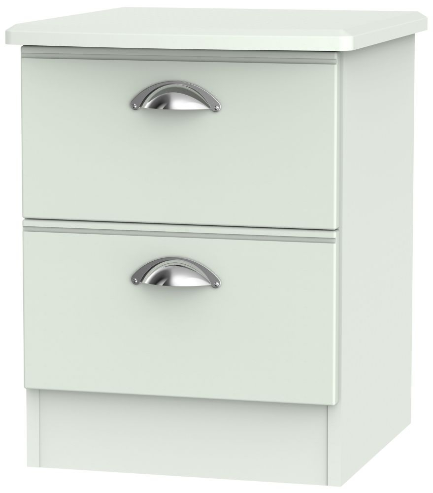 Victoria Grey Matt Bedside Cabinet - 2 Drawer Locker