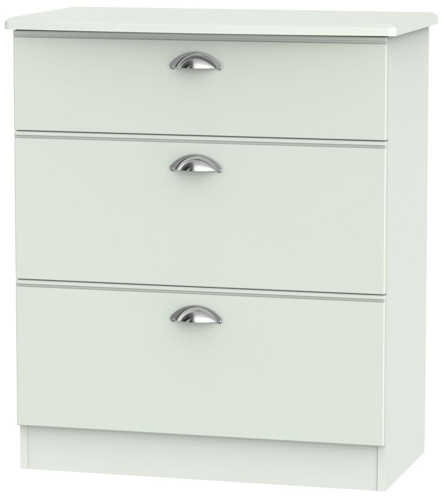 Victoria Grey Matt 3 Drawer Deep Chest