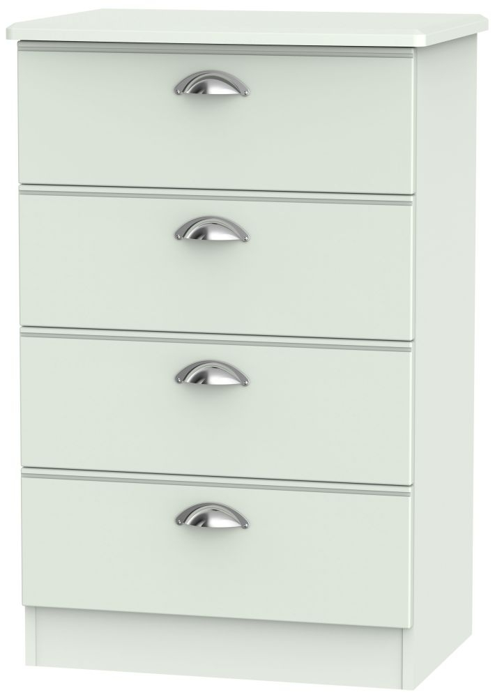 Victoria Grey Matt 4 Drawer Midi Chest