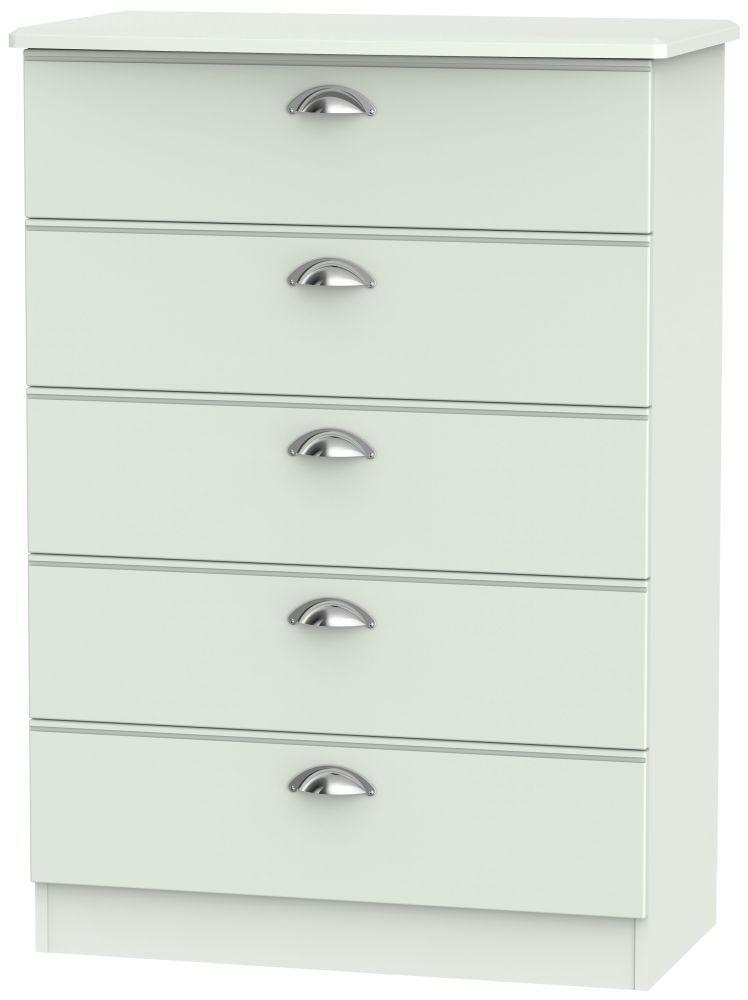 Victoria Grey Matt Chest of Drawer - 5 Drawer