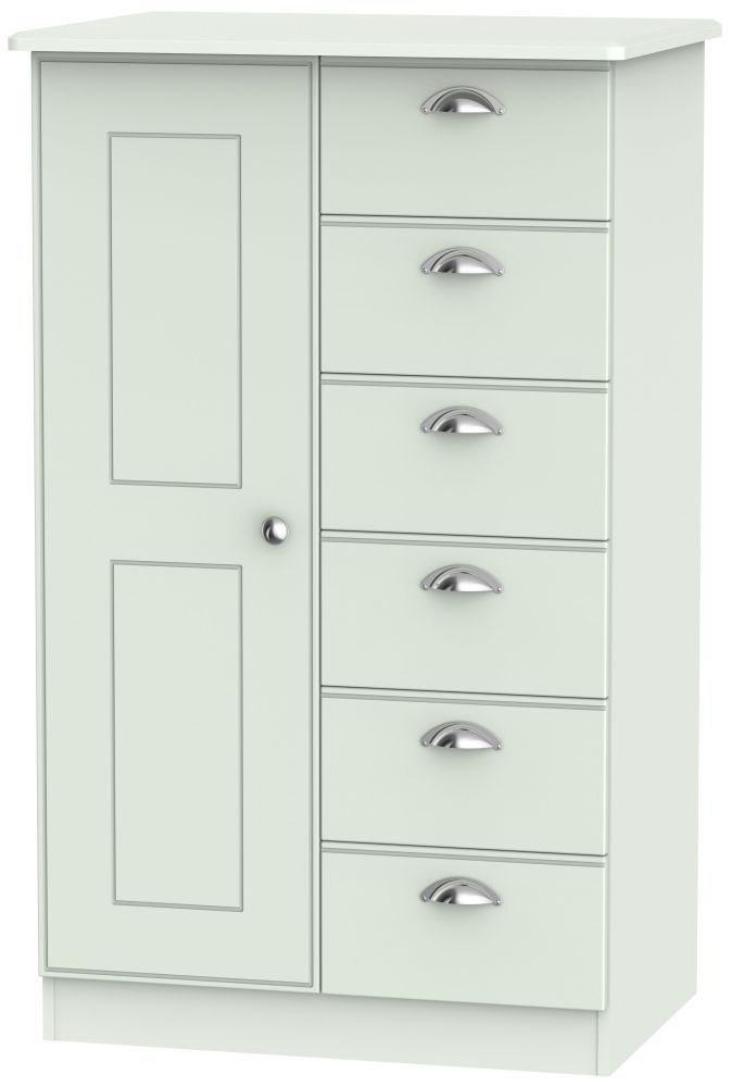 Victoria Grey Matt 1 Door 6 Drawer Children Wardrobe