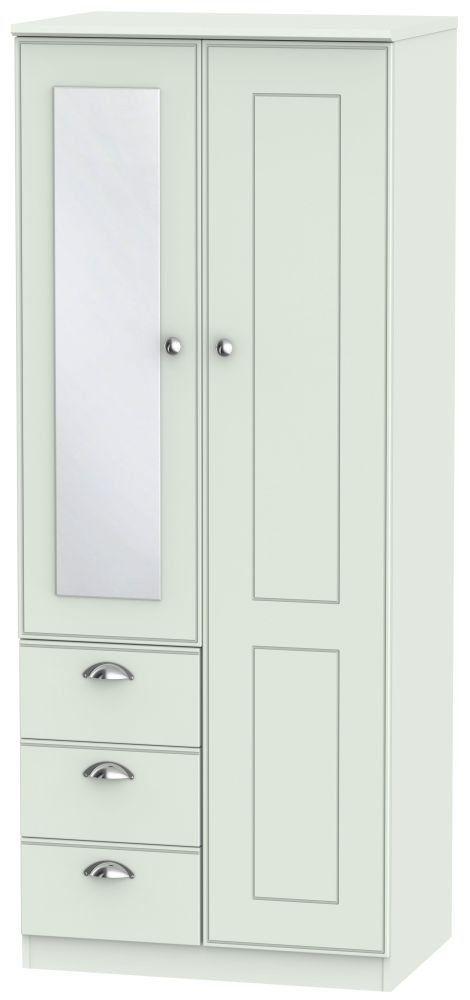 Victoria Grey Matt 2 Door 3 Drawer Combination Wardrobe
