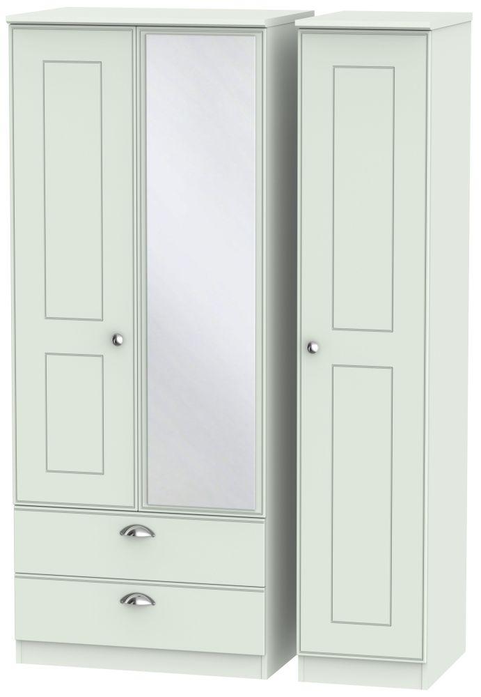 Victoria Grey Matt Triple Wardrobe - 2 Drawer with Mirror