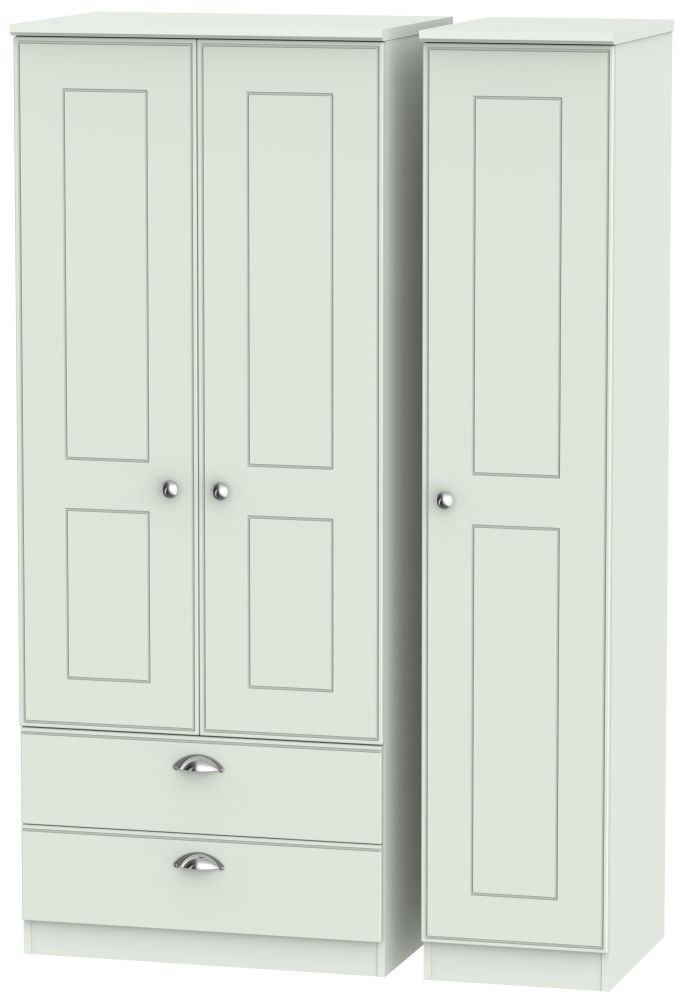Victoria Grey Matt Triple Wardrobe 2 Drawer