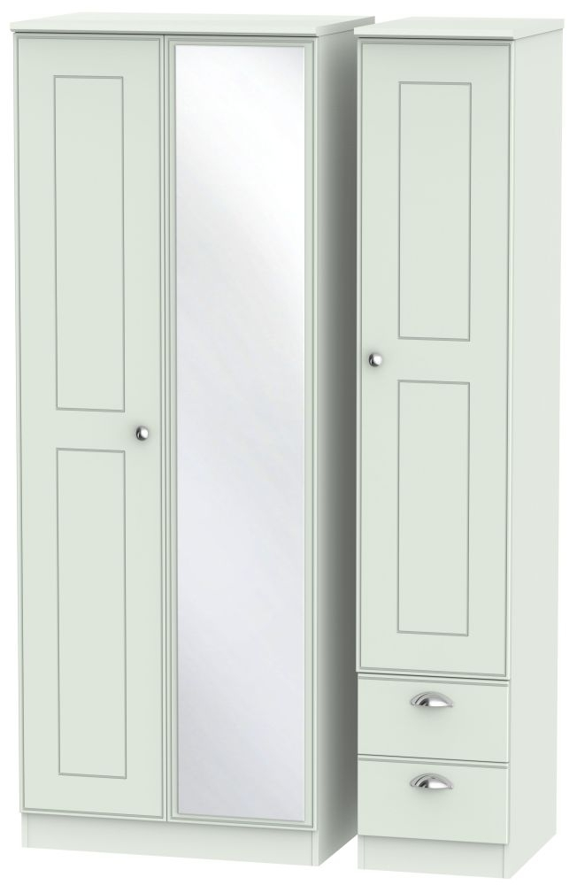Victoria Grey Matt Triple Wardrobe - Tall 2 Drawer and Mirror