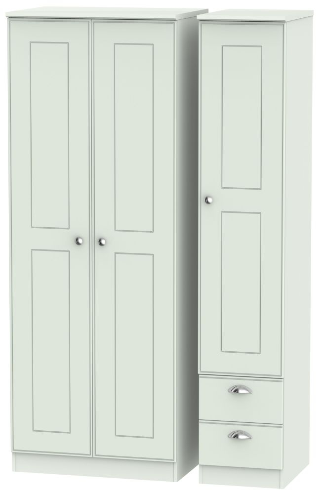 Victoria Grey Matt 3 Door 2 Drawer Tall Plain Triple Wardrobe