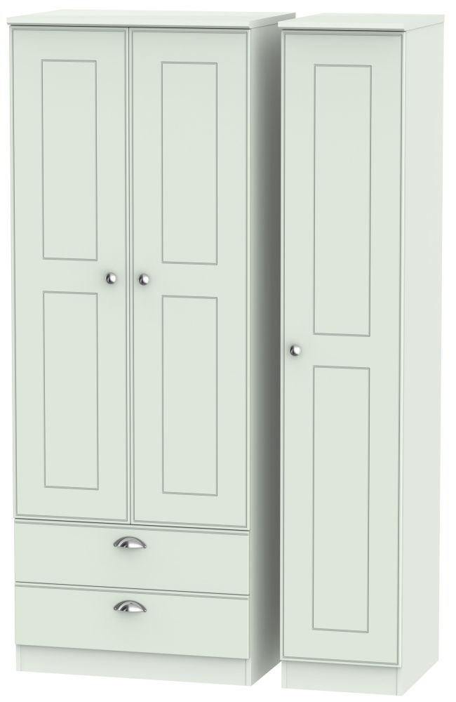 Victoria Grey Matt Triple Wardrobe - Tall with 2 Drawer