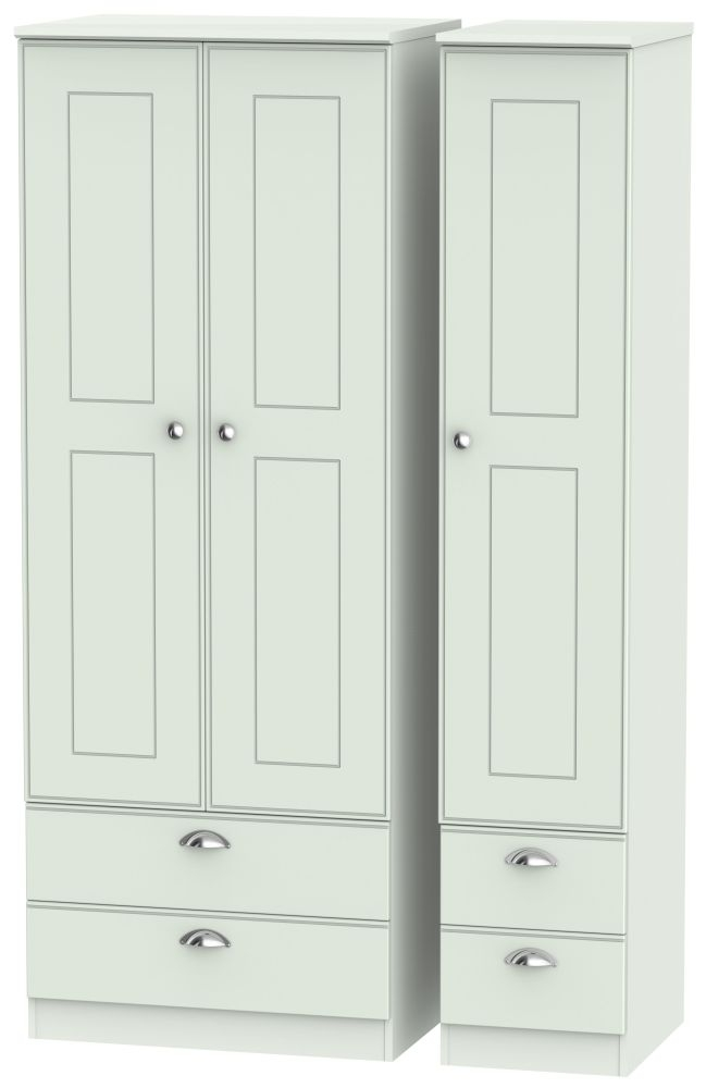 Victoria Grey Matt 3 Door 4 Drawer Tall Wardrobe