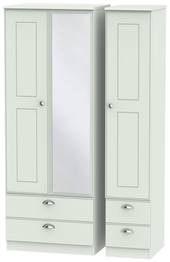 Victoria Grey Matt 3 Door 4 Drawer Tall Combi Wardrobe