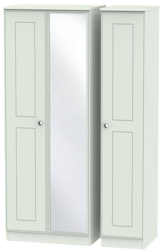Victoria Grey Matt Triple Wardrobe - Tall with Mirror