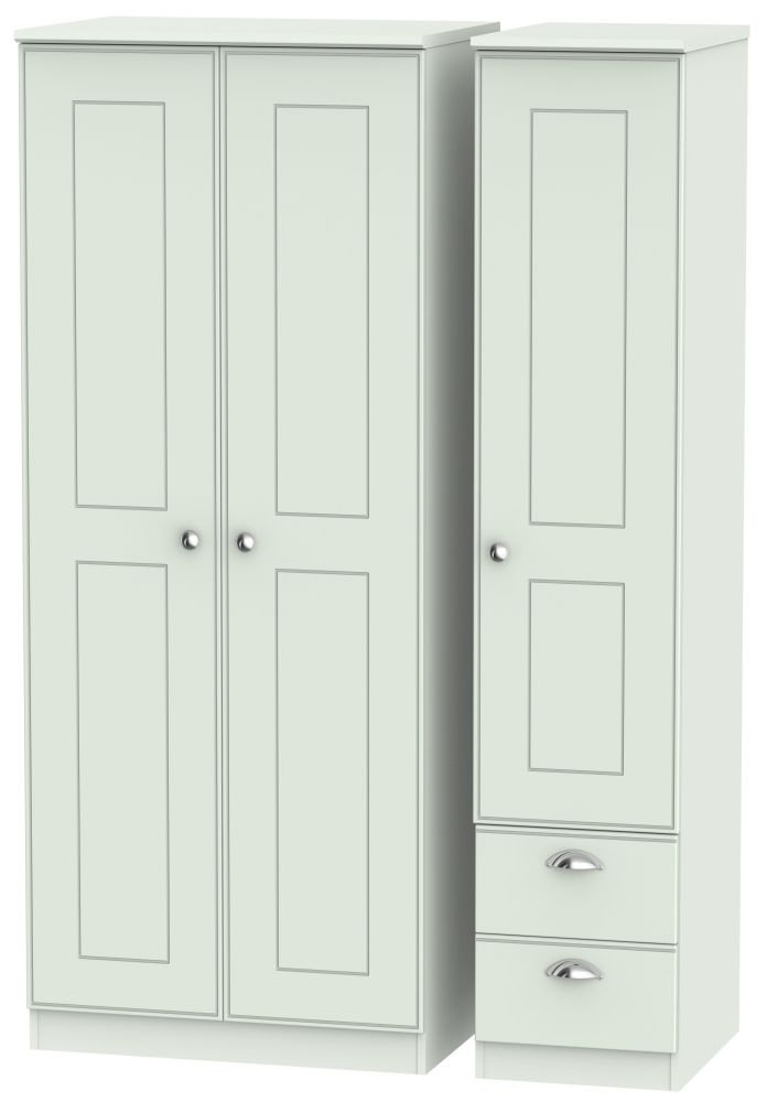 Victoria Grey Matt Triple Wardrobe with 2 Drawer