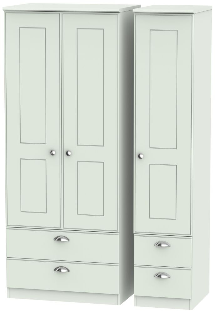 Victoria Grey Matt 3 Door 4 Drawer Wardrobe