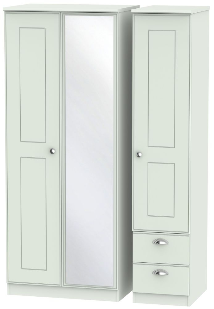 Victoria Grey Matt 3 Door 2 Right Drawer Mirror Triple Wardrobe