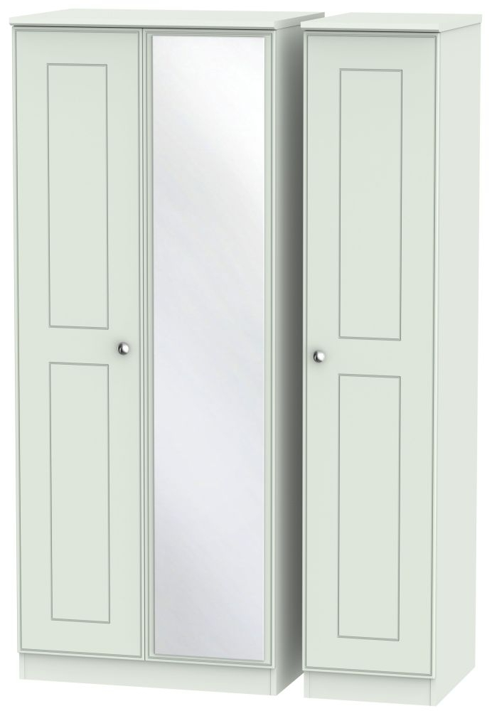 Victoria Grey Matt Triple Wardrobe with Mirror