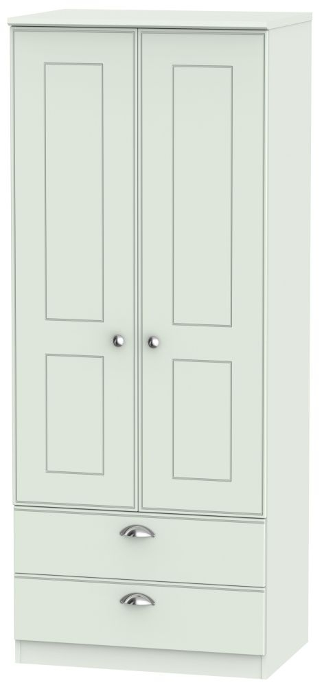 Victoria Grey Matt Wardrobe - 2ft 6in 2 Drawer