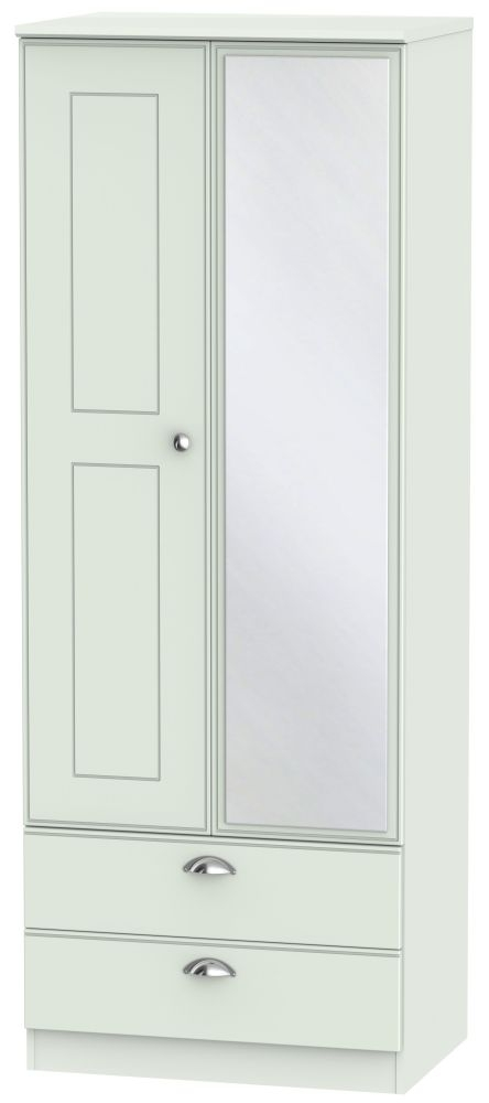 Victoria Grey Matt Wardrobe - Tall 2ft 6in 2 Drawer with Mirror