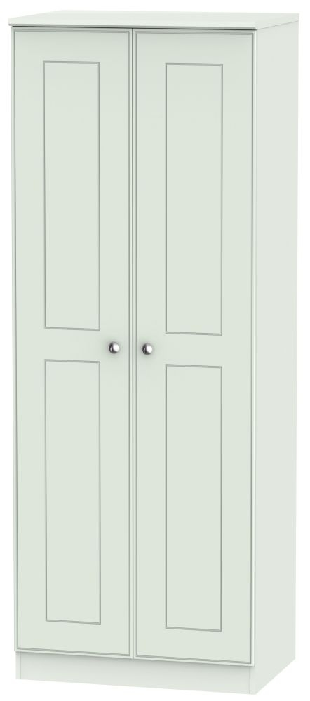 Victoria Grey Matt 2 Door Tall Double Hanging Wardrobe