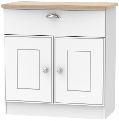 Victoria 2 Door 1 Drawer Narrow Sideboard - White Ash and Riviera Oak