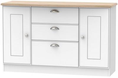 Victoria 2 Door 3 Drawer Sideboard - White Ash and Riviera Oak