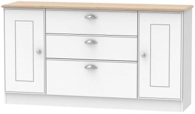 Victoria 2 Door 3 Drawer Wide Sideboard - White Ash and Riviera Oak