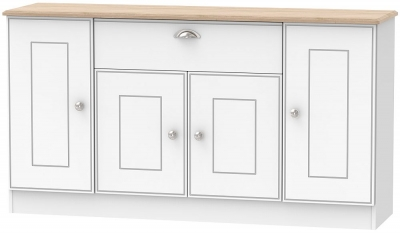 Victoria 4 Door 1 Drawer Wide Sideboard - White Ash and Riviera Oak