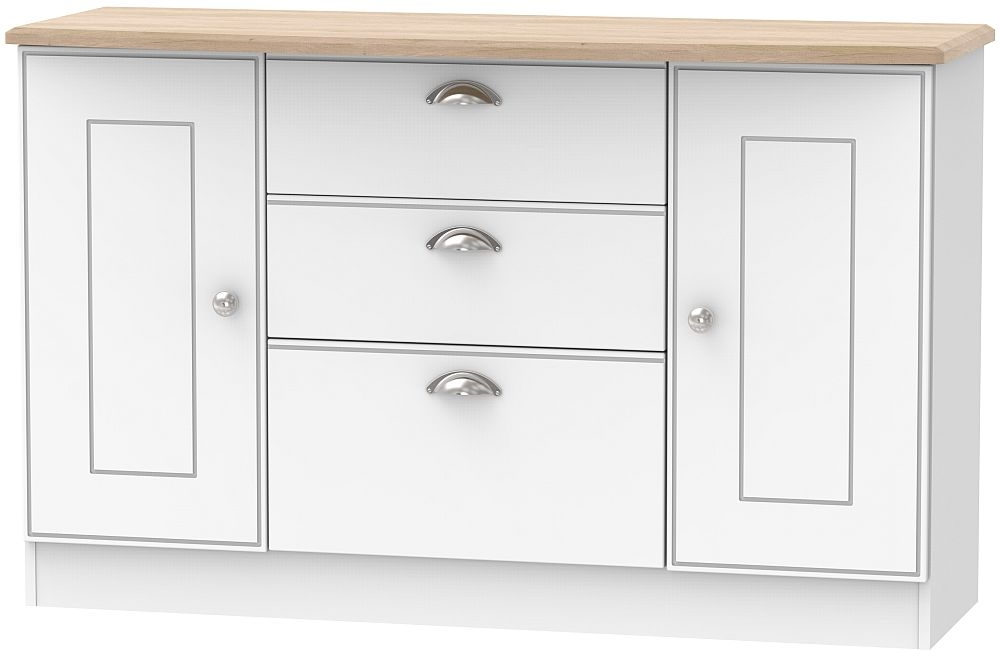 Victoria 2 Door 3 Drawer Sideboard - White Ash and Riviera Oak