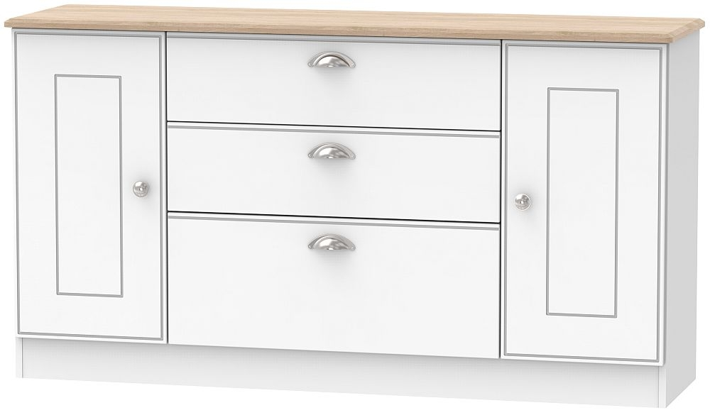 Victoria 2 Door 3 Drawer Wide Sideboard - White Ash and Riviera Oak