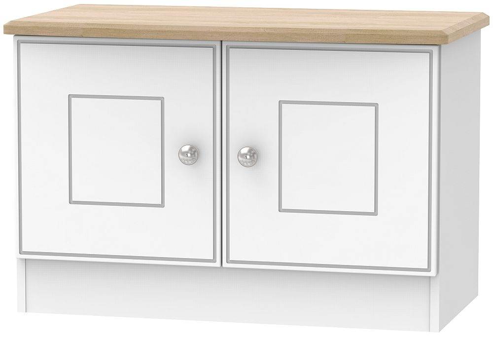 Victoria 2 Door Low Unit - White Ash and Riviera Oak