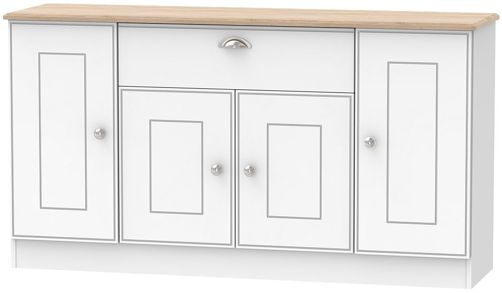Victoria 4 Door 1 Drawer Wide Sideboard - White Ash and Riviera Oak