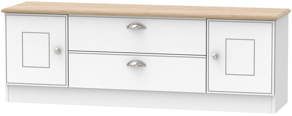 Victoria Wide TV Unit - White Ash and Riviera Oak