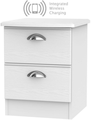 Victoria White Ash 2 Drawer Bedside Cabinet with Integrated Wireless Charging