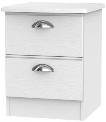 Victoria White Ash 2 Drawer Bedside Cabinet