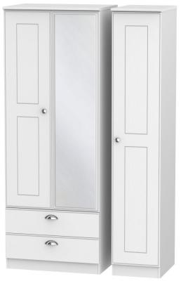 Victoria White Ash 3 Door 2 Left Drawer Tall Combi Wardrobe