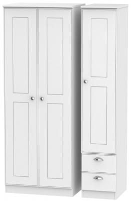 Victoria White Ash 3 Door 2 Right Drawer Tall Wardrobe
