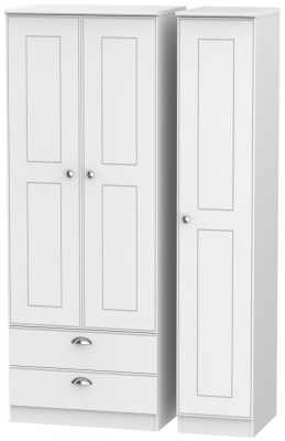 Victoria White Ash 3 Door 2 Left Drawer Tall Wardrobe