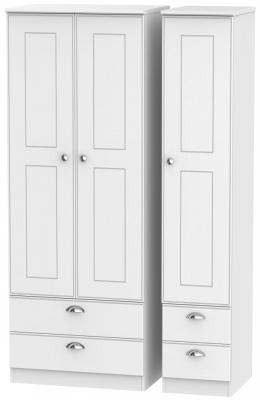 Victoria White Ash 3 Door 4 Drawer Tall Wardrobe
