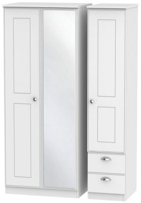 Victoria White Ash 3 Door 2 Right Drawer Combi Wardrobe