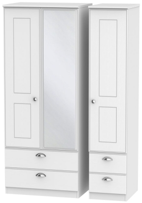 Victoria White Ash 3 Door 4 Drawer Combi Wardrobe